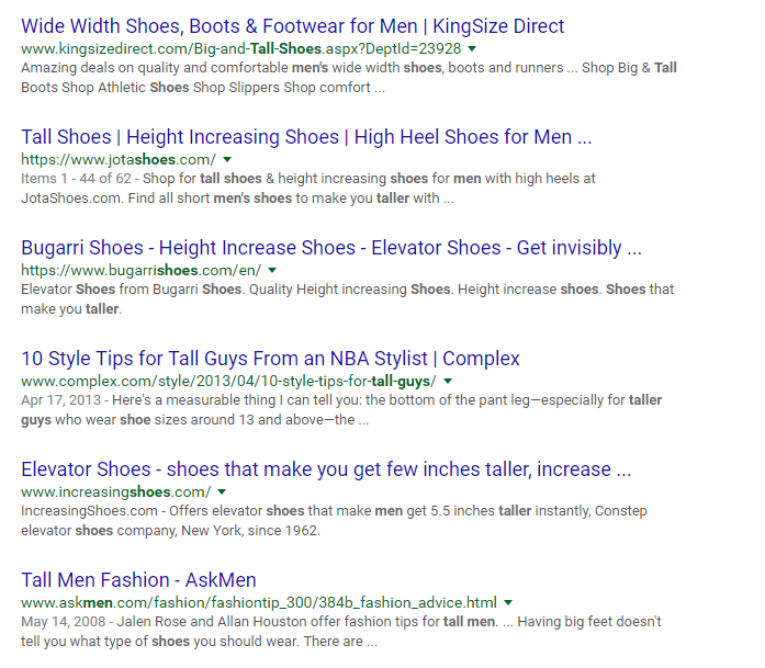 google search results for tall fashion